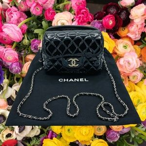 Chanel Womens Double Zip Crossbody Quilted Purse